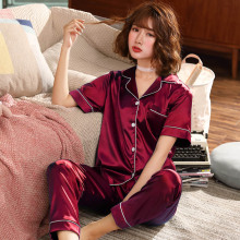 Summer Women Pajamas Sets Silk Pyjamas Satin Sleepwear 2 Pieces Pijama Short Sleeve Fashion Home Wear Sleep Lounge