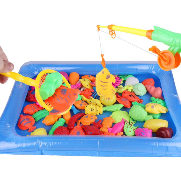 Children Boy girl fishing toy set suit magnetic play water baby toys fish square hot gift for kids Free Shipping GYH
