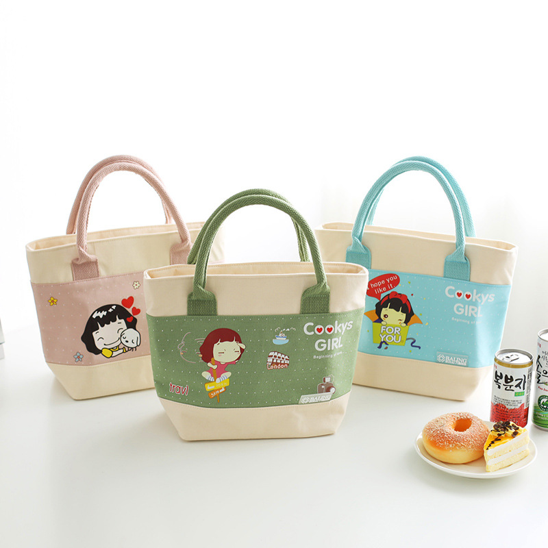5Colors Cartoon Girls Print Canvas Picnic Bag Kids School Pouch Portable Insulated Lunch Bag Cute Drink Food Organizer Container