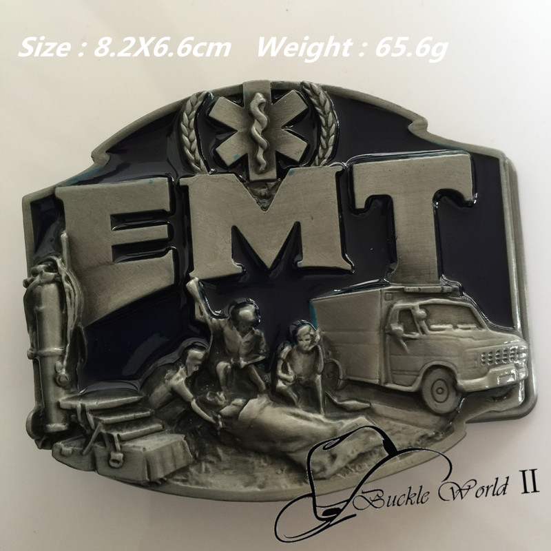 Retail New Western Cool 3D Emergency Healers EMT belt buckle for Men Jeans accessories For 4cm Wide belt 82*66mm 65.6g Metal