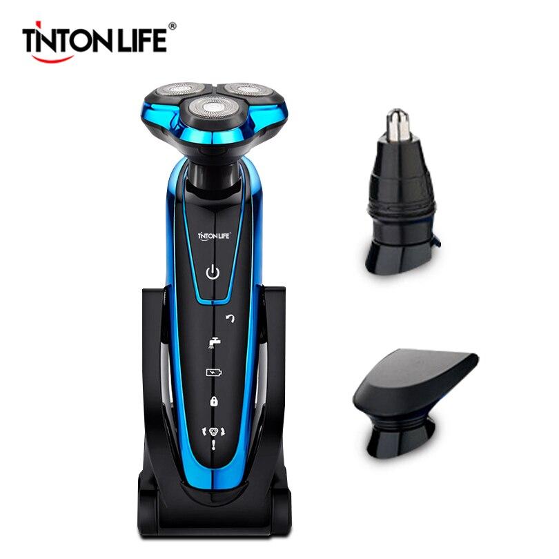 TINTON VIE Hommes Lavable Électrique Rechargeable Rasoir Électrique Rasage Barbe Machine Rasoir Rechargeable