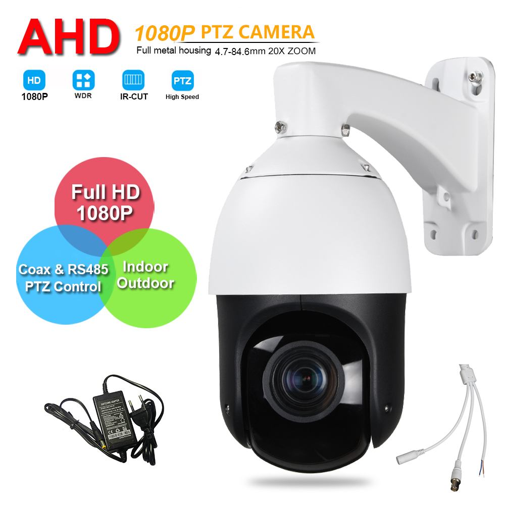 CCTV IP66 Outdoor Security 4 MINI High Speed Dome AHD 1080P PTZ Camera 2.0MP 20X Zoom Auto Focus IR 100M Coaxial PTZ Control 4 in 1 ir high speed dome camera ahd tvi cvi cvbs 1080p output ir night vision 150m ptz dome camera with wiper