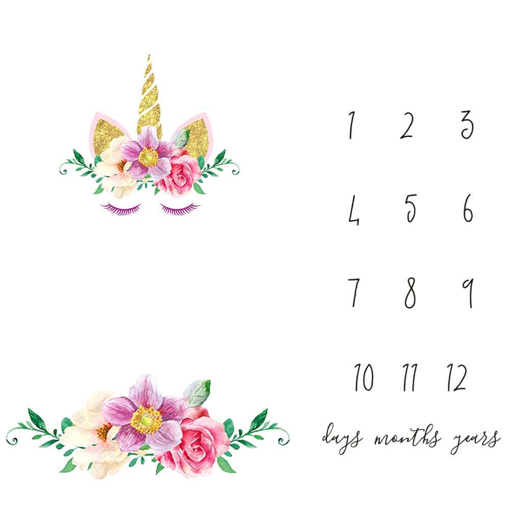 Milestone blanket as month to month,The unicorn pattern Polyester baby shoot fabric,baby photography props