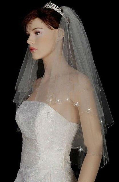 Velos De Novia Wedding Veils With Crystal Two Layer Short Veil Comb Bride