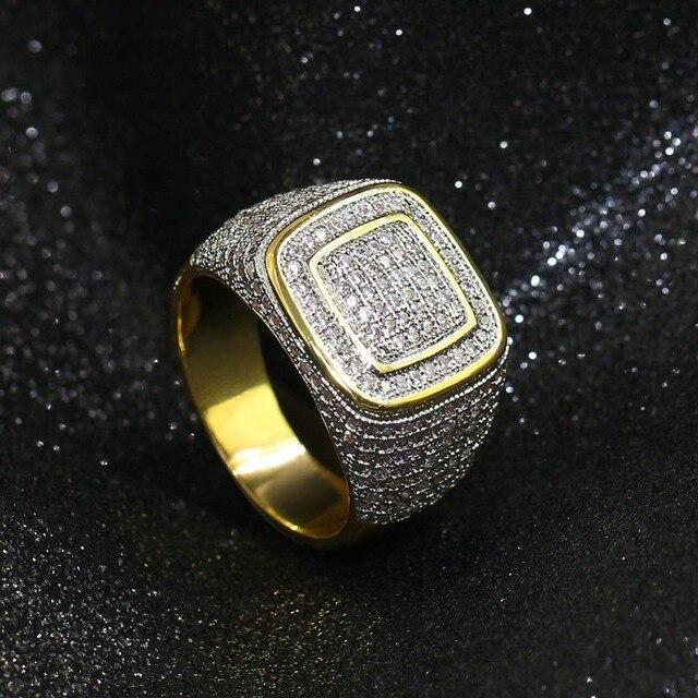 b9c96a3aeb4e De alta calidad nuevo Hip Hop joyería Micro pavimentado AAA Cubic Zirconia  de diamantes imitación Oro Grande anillo los hombres