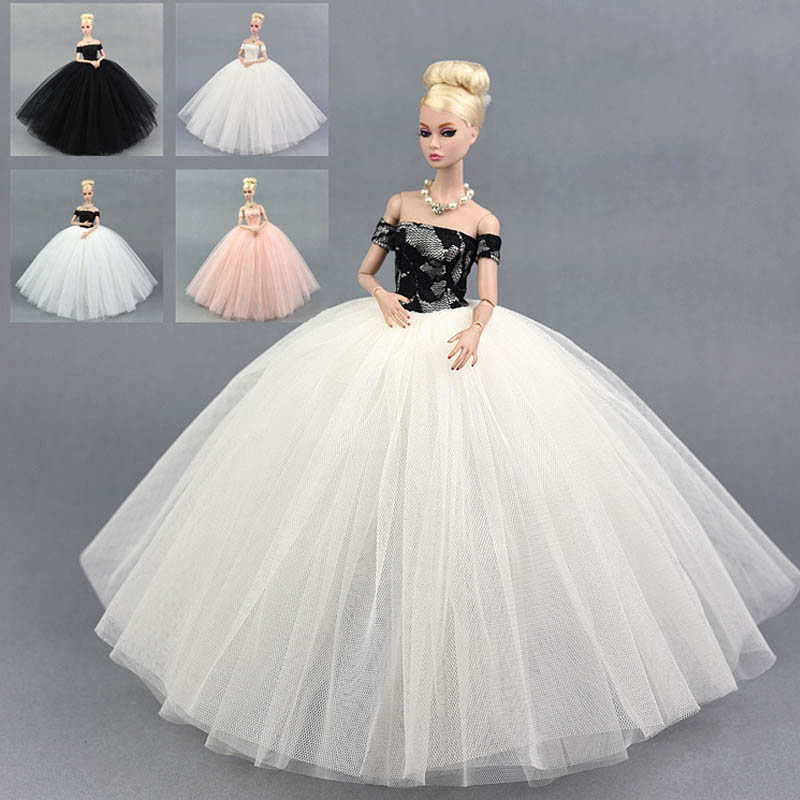Fashion Doll Dress Costume Elegant Lady Wedding Dress For Barbie Doll Dress Clothes For 1/6 BJD Doll Dresses Gift Toy 2 items 1dress 1 set accessories 1pair earing 1necklace little girls s gift luxurious wedding dress for barbie doll