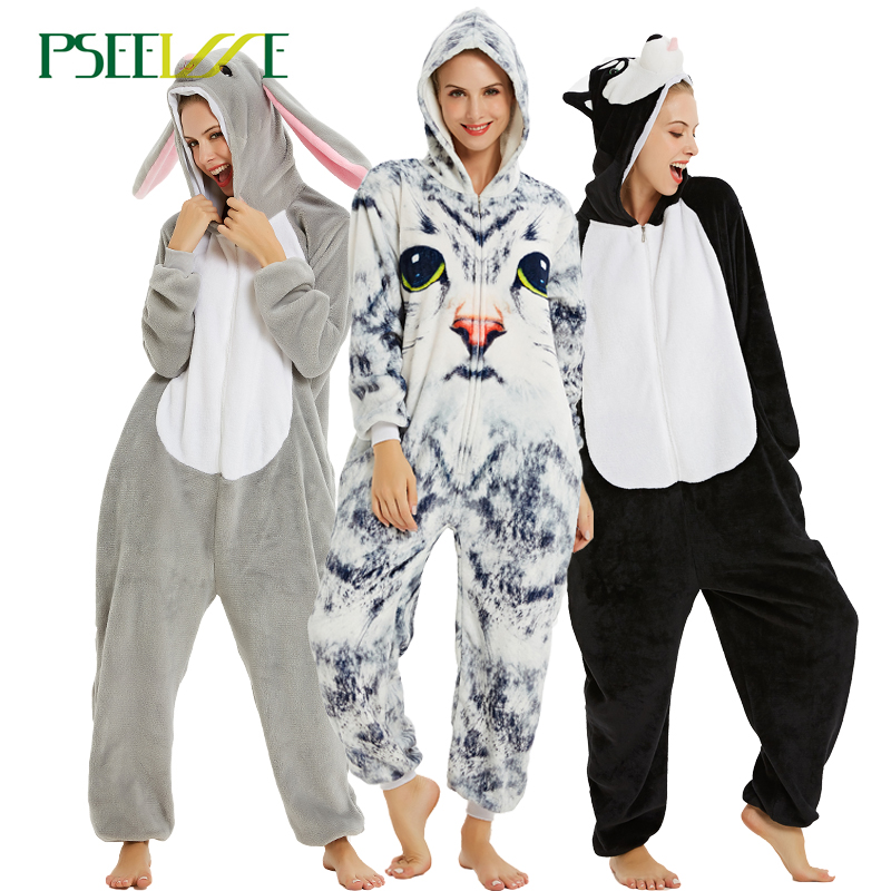 Kigurumi Unicorn Pajamas Onesie Women Stich Winter Flannel Pajama Adult Unicornio Sleepwear Overall Couple Pajamas For Unisex