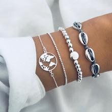 DIEZI 4 unids/set, pulseras de cuentas de cadena de plata Bohemia, pulseras de concha de mapa del Océano de moda Vintage, conjuntos de brazaletes para joyería de mujer