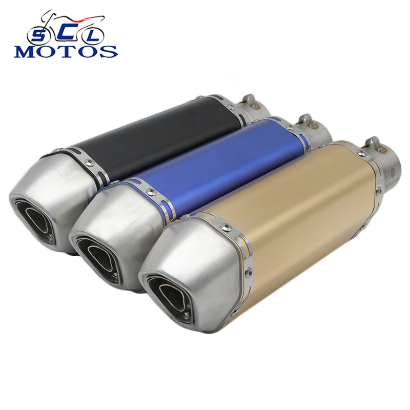 Sclmotos 35-51mm Universal Motorcycle Exhaust Pipe Muffler Escape Moto Racing with DB Killer MT07 MT09 TMAX530 YZF R1 R3 R6 R15