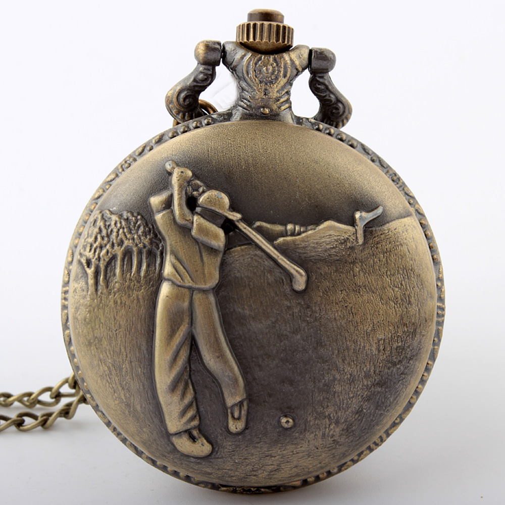 2020 Antique Classical  Bronze Golfing Theme Pocket Quartz Movement Watch With  Necklace Chain Best Watch Gift To Golfers Men