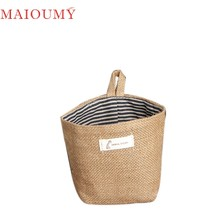 My House Stripe Small Storage Sack Cloth Hanging Non Woven Storage Basket Bag 2017 New Hot Sell 17Mar10(China)