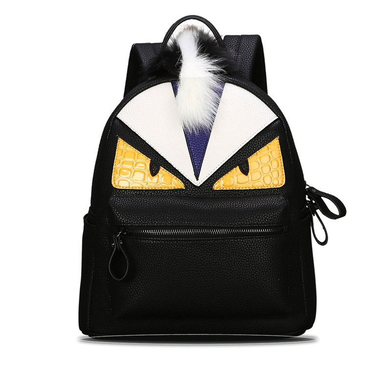 Fashion feminine backpacks men travel backpack women school bags for girls eye Monster leather backpack youth bagpack sac a dos cardamom fashion leather backpack women bags cowhide leather bagpack with colorful patchwork backpacks for women