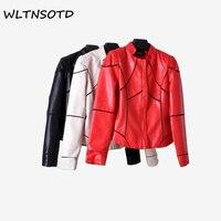 2018 new spring rosso cappotti di cuoio delle donne breve Slim PU giacca di pelle moda femminile Cuciture Intorno al collo del cappotto
