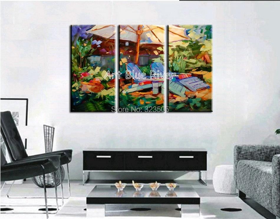 3 piece muti panel abstract handmade Artist canvas art font b Knife b font oil painting