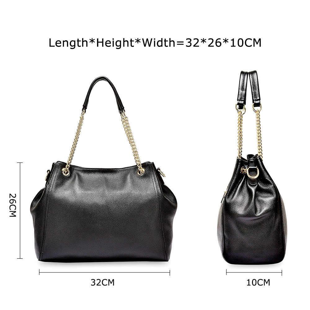 Zency 100% Сумка из натуральной кожи Модная женская сумка высокого качества женская сумка через плечо классическая черная сумка