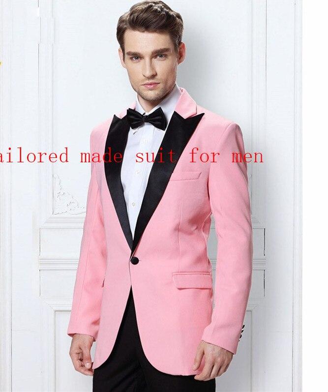 8ca6fe3e532a Convenzionale As Tie Rosa Del Color Il Dello Picco Of Fit Uomo Sposo custom  Raggiunto Pantaloni Made Nozze Vestito Di Abiti Smoking ...
