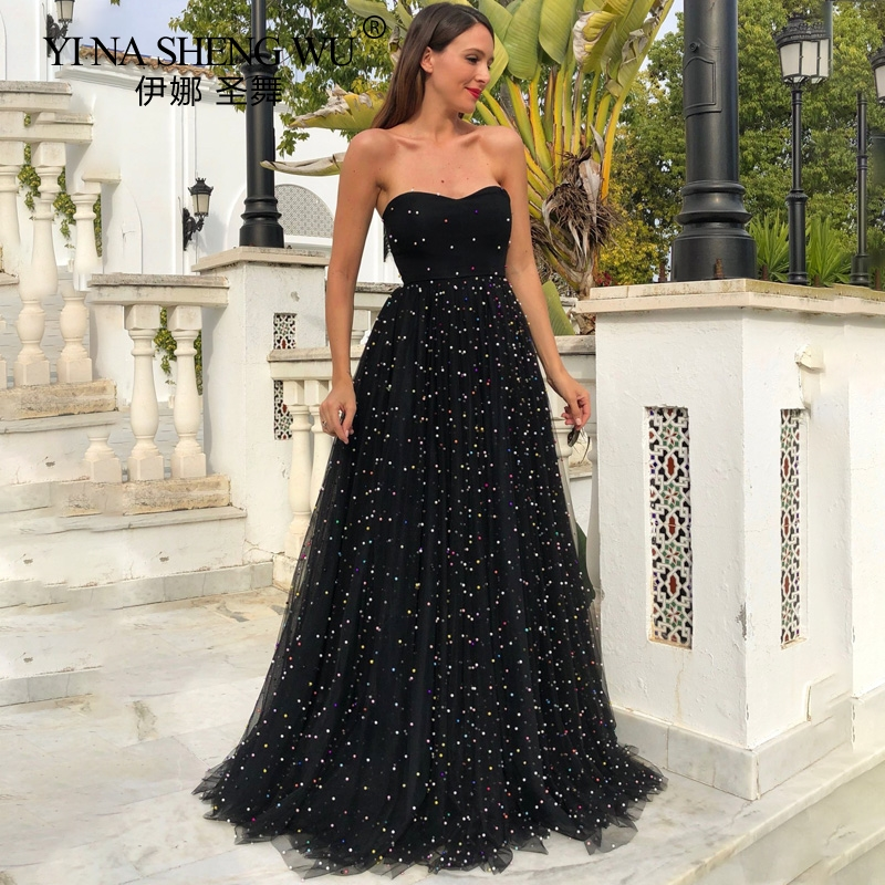 Women Ball Gown Sexy Elegant Party Dress Strapless Black Tulle Sequin Party Dress Sexy Evening Party Gown Sequin Backless Dress