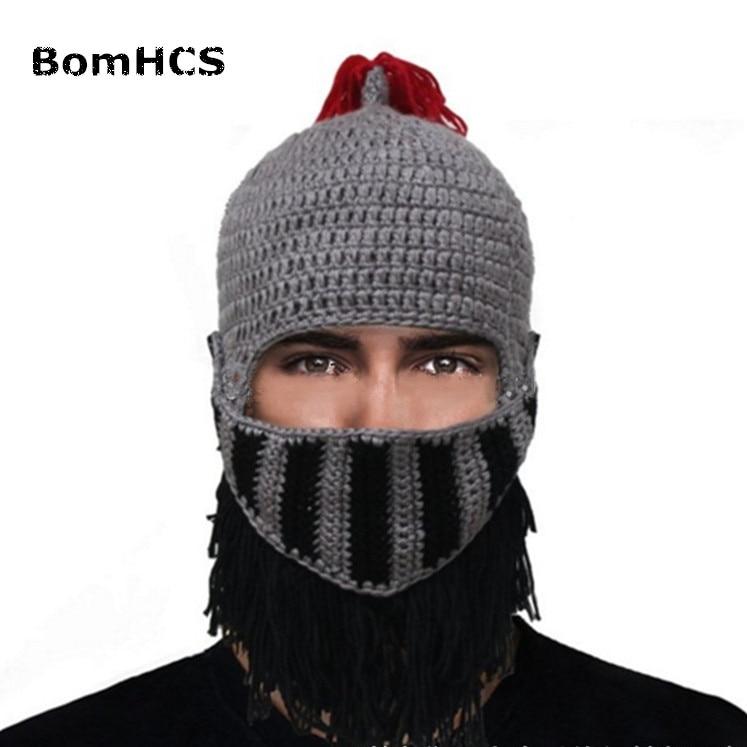 Bomhcs Novelty Funny Prank Beard Jazz Hat 100% Handmade Knit Crochet Wig Mask Beanie