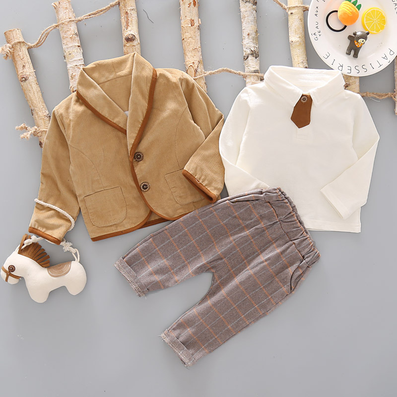 Image 3 - 3PCS Toddler Tie Formal Clothes Set Baby Boy Outfit Suit Spring Autumn Cotton Children Outerwear Kids Clothing Suit Outfit 1 4YClothing Sets   -
