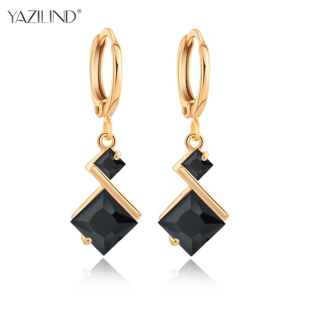 3 Colors Rhombic Crystal Dangle Earrings for Women Gold Wedding Earrings for Bridesmaids Brides Long Earings Fashion Jewelry