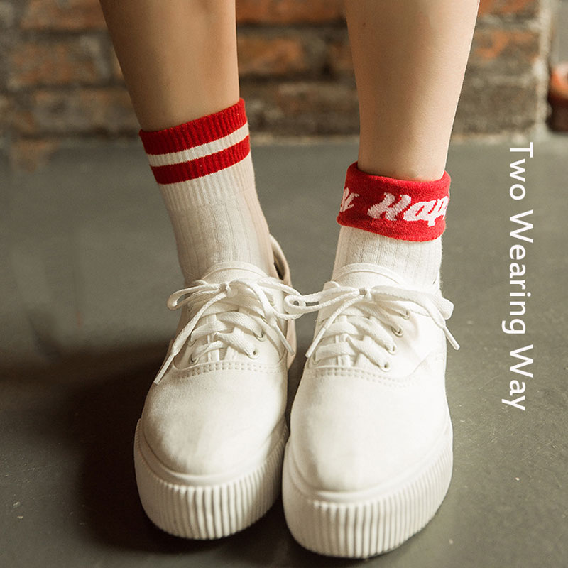 Fashion Women Harajuku Short   Socks   Sporty Style Colored Happy Funny   Socks   Cute Colored Art Letter Patterned Ankle   Socks   Female