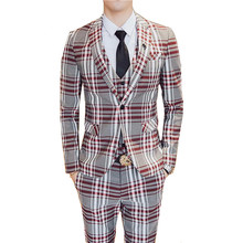 Jacket + Pant + Vest / New Men Business Slim Suits Sets Plaid Wedding Dress Three-piece Suit Blazers Coat Trousers Waistcoat