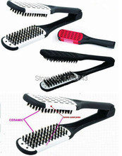 New Straightening Ceramic Hair Brush,  V Hair Brush Comb with Boar Bristle, Hair Straightening Brush Y-12