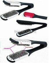 New Straightening Ceramic Hair Brush, V Hair Brush Comb with Boar Bristle, Hair Straightening Brush Y-12