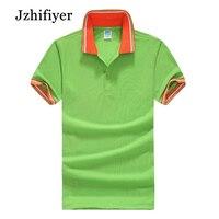Jzhifiyer blusas chemisette masculina de marca TC 180GSM Oeillet hommes de Court-douille lâche polo chemises Turn-down col polo hommes