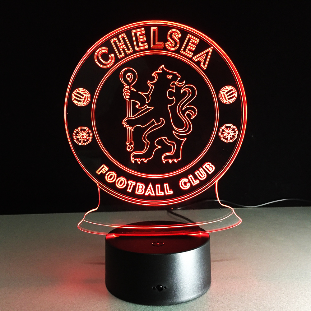 LED Chelsea Football Club 3D Night Light Creative Electric Illusion Lamp 7 Colors Changing USB touch Desk Lamp Drop Shipping new 3d retro ancient sailing sea boat ship led lamp chinese style 7 colors changing illusion night light usb table desk decor