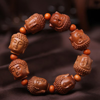 (3pcs)Carved peachwood Buddha head carving hand strings of natural national wind bracelet to protect the beads ornaments.