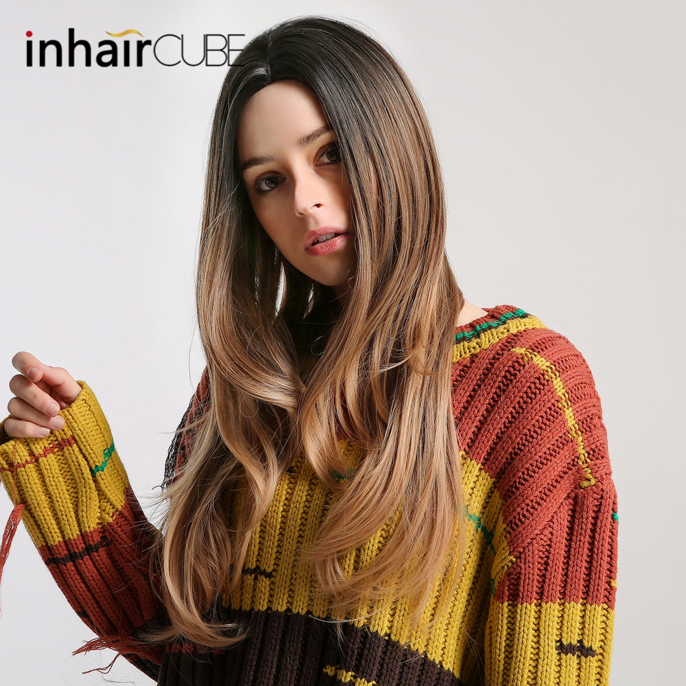 Synthetic None-lacewigs Inhair Cube Ombre Synthetic Long Natural Wave Dark Brown With Highlights Hair Centre Parting Hairstyle Free Shipping To Enjoy High Reputation At Home And Abroad