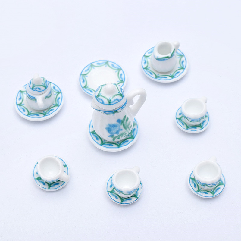 1:12 Miniature 15pcs Porcelain Tea Cup Set Chintz Flower Kitchen Tableware Dollhouse Furniture Toys For Kids Gift 19 Patterns