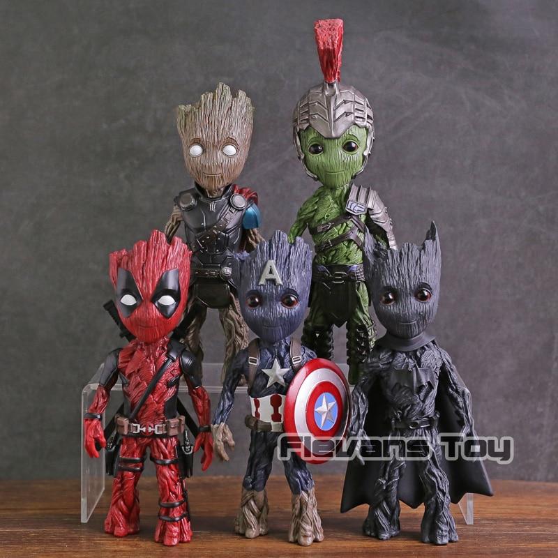 все цены на Marvel Tree Man Cosplay Captain America Thor Hulk Deadpool Batman PVC Figure Collectible Model Toy онлайн