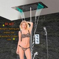 Ванна смеситель для душа Concea светодио дный термостатический Панель Настенные Латунь носик смеситель светодио дный потолок Насадки для душ