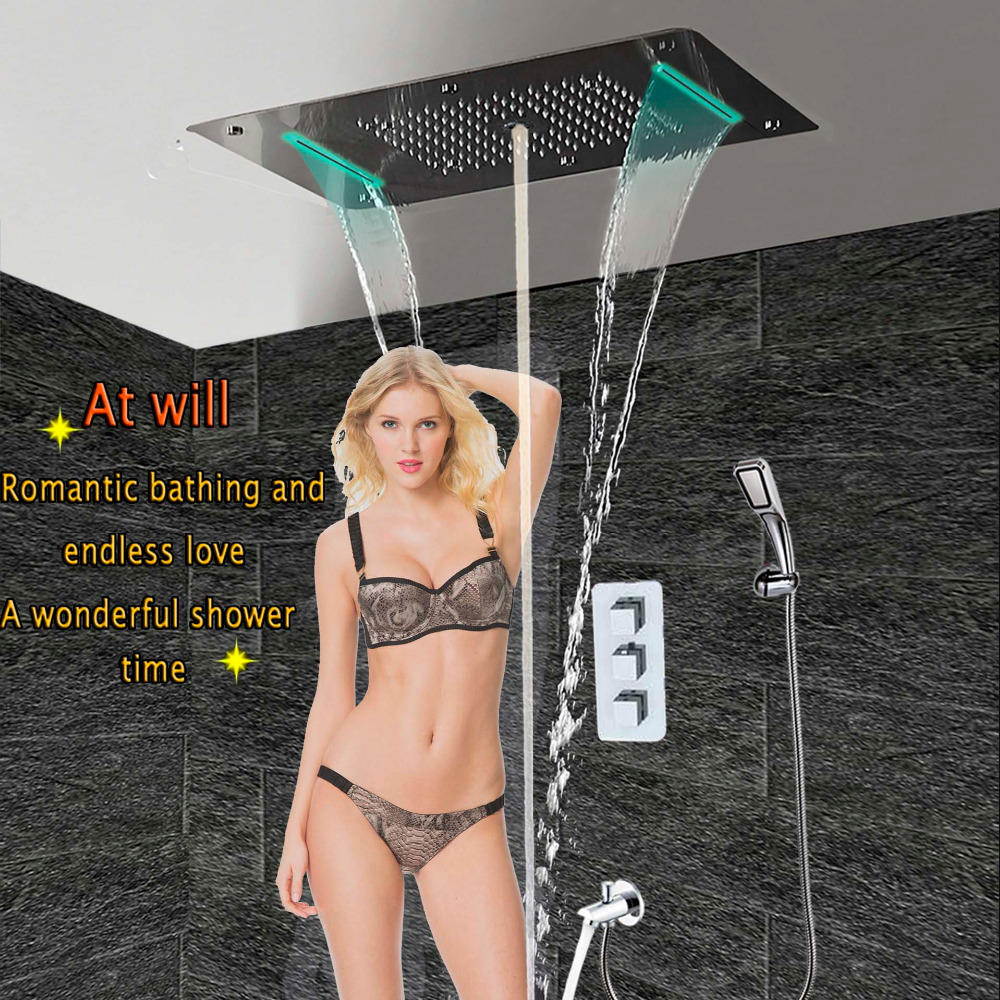 Bath Shower Faucet Concealed Thermostatic Panel Wall Mounted Brass Spout Tap Mixer LED Ceiling Shower Head Rain Waterfall Mist