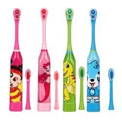 Cepillo de dientes eléctrico patrón de dibujos animados de doble cara impermeable cepillo dental limpieza Oral para niños con 2 piezas de cabeza de repuesto