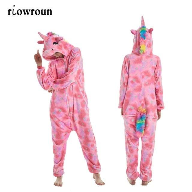 בעלי החיים Kigurumi סרבל תינוקות למבוגרים גברים נשים חד קרן הלבשת פיג 'מה רך מפואר אנימה Unicornio Pijima כולל Nightwear Onepiece