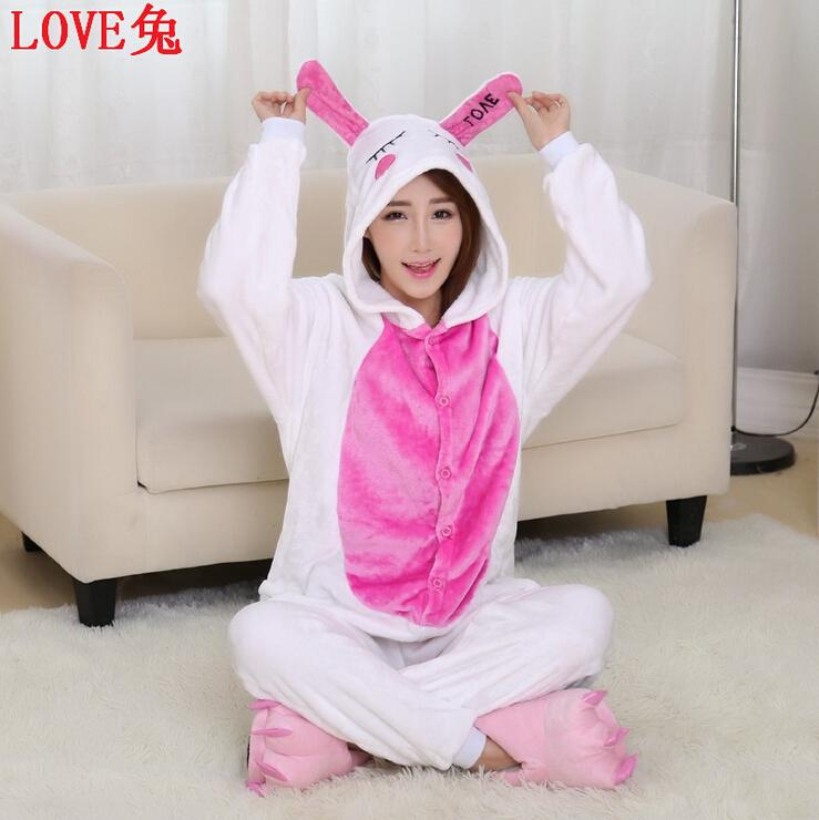 free shipping New Adult Animal Fleece Womens White Rabbit Pyjamas Pajamas Sleepsuit sleepwear Underwear Onesie