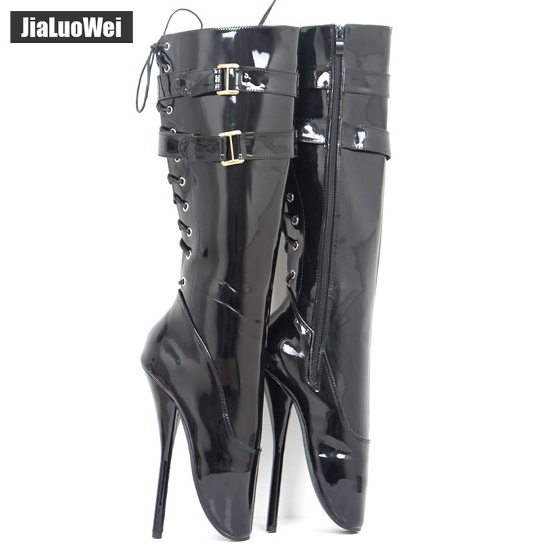 Jialuowei 18cm Ultra high-heel Spike Heel Pointed Toe stilleto Dance Boots Patent Leather Sexy Fetish Knee-High Ballet Boots jialuowei brand 18cm super high heel wedges ballet boots women stange heels patent leather cross tie sexy fetish knee high boots