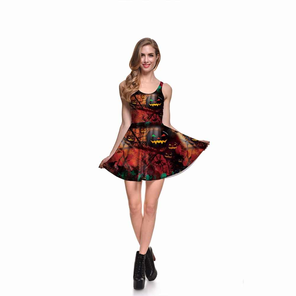 69f2717626 Detail Feedback Questions about 3 Patterns Halloween Women Pumpkin Summer Skater  Dress Red Skull Print Pleated Dresses Above Knee S To 4xL on Aliexpress.com  ...