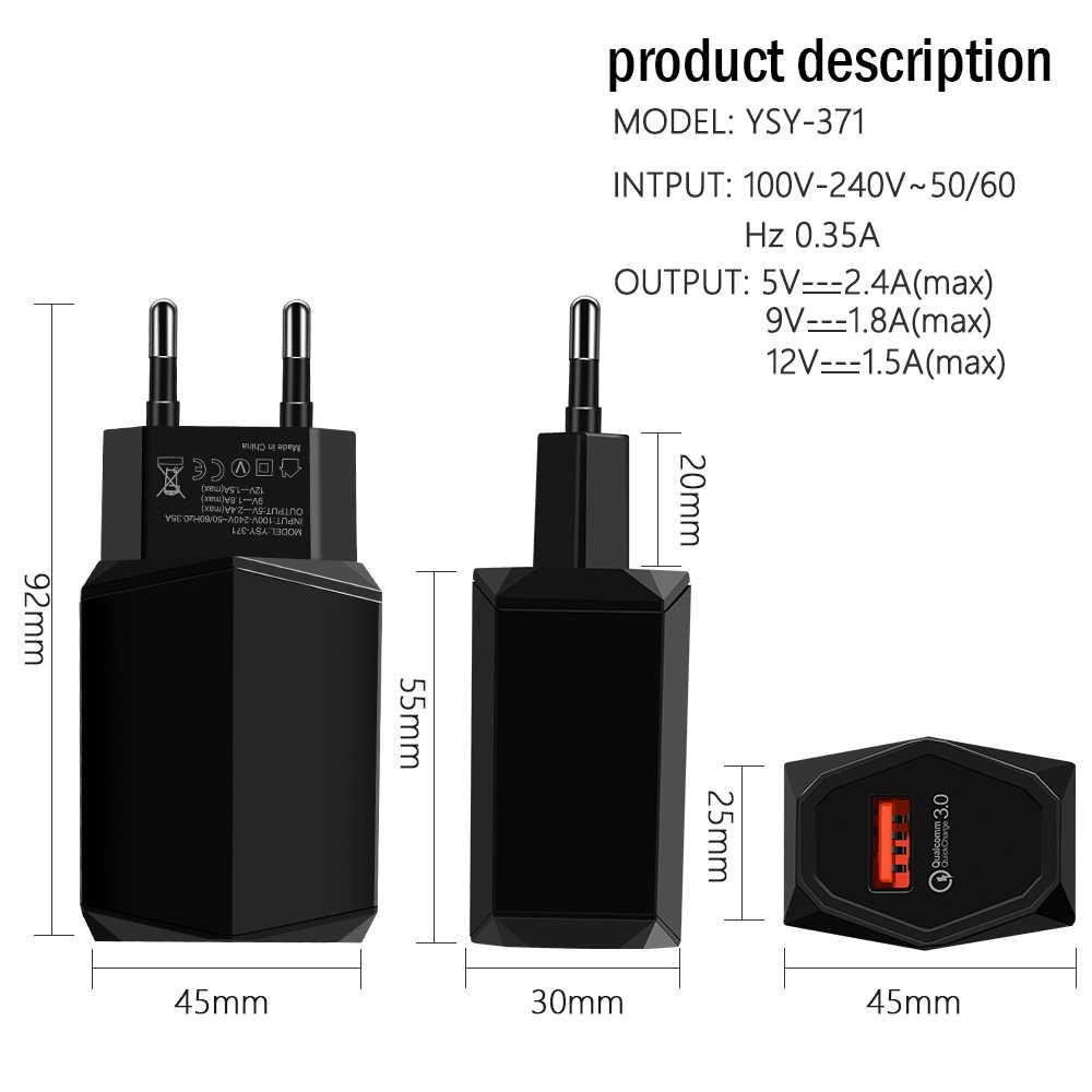 CONTROLLO di QUALITÀ 3.0 del Caricatore del USB di ricarica Veloce Caricabatterie Del Telefono Mobile Per il iphone 7X8 Per Samsung Huawei Xiaomi Carica Rapida 3.0 veloce Adattatore