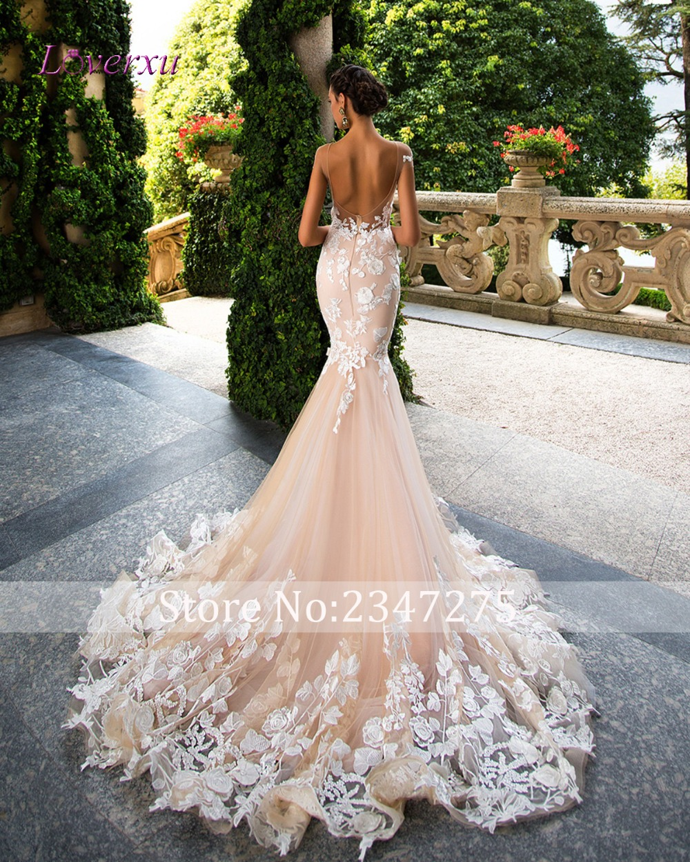 Loverxu Romantic Scoop Neck Backless Princess Mermaid Wedding Dress 2017 Gorgeous Appliques Robe De Mariage Bride Gown Plus Size