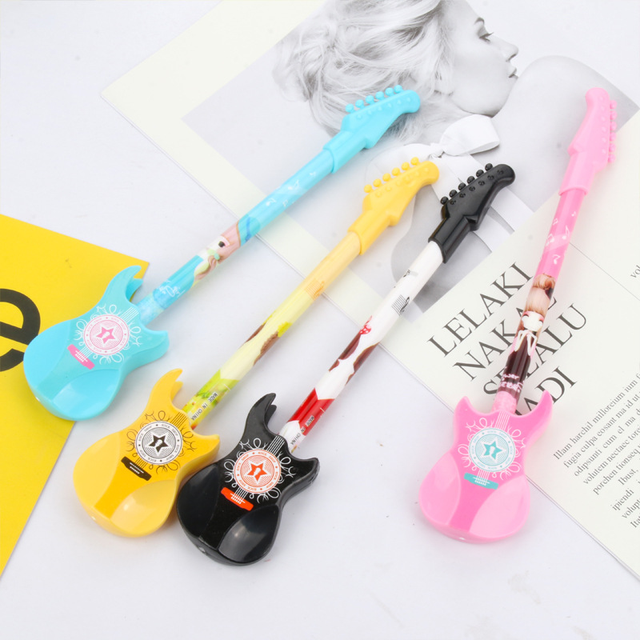 24pcs Creative Stationery Instrument Guitar Neutral Pen Daily Writing Office Signature Black Water Gel Pen Stationary Wholesale