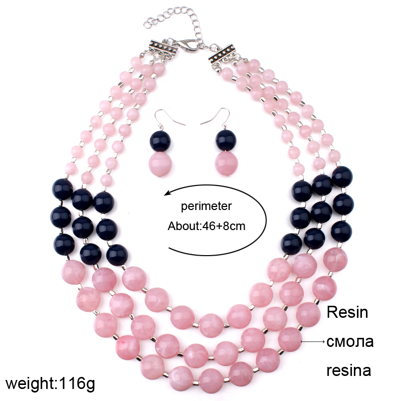 HTB1K4Vjhm3PL1JjSZFtq6AlRVXa7 - MOON GIRL Pink African Resin Beads Jewelry Sets For Women-MOON GIRL Pink African Resin Beads Jewelry Sets For Women
