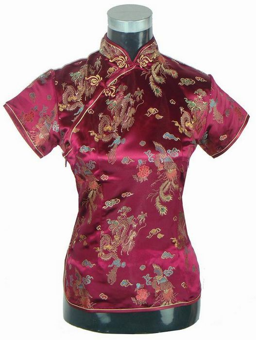 23ad18bb40e223 Hot Sale Black Vintage Chinese Blouse Clothing Women's Satin Shirt Tops  Mujer Camisa Dragon Phenix Size S M L XL XXL A0017-in Blouses & Shirts from  Women's ...