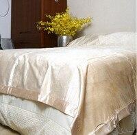 100% натуральный шелк двустороннее махровое шелковое одеяло бежевого цвета King queen размер можно стирать машинное шелковое одеяло