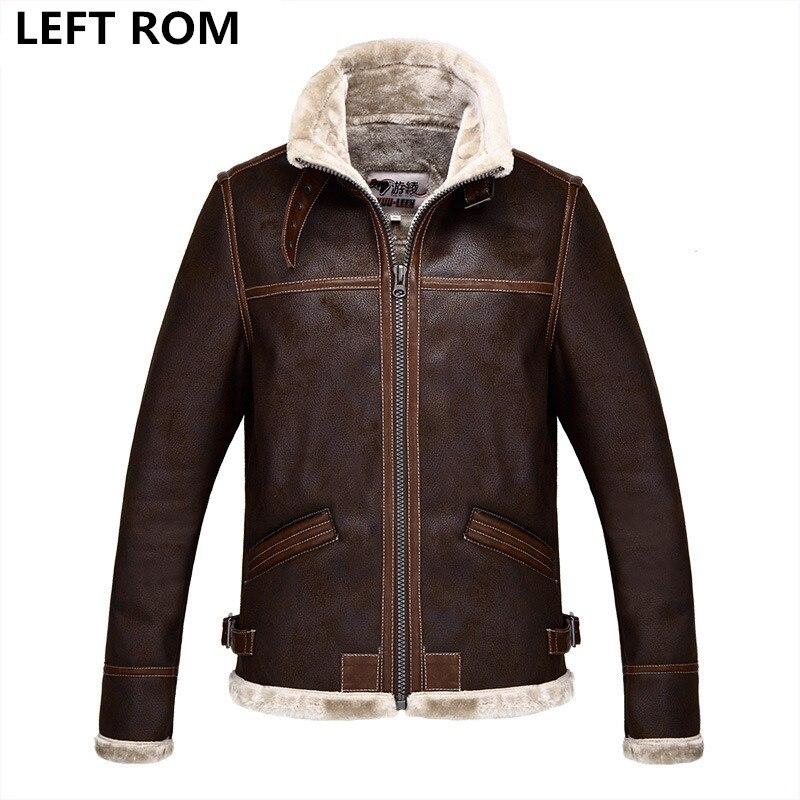 LEFT ROM 2017air force flight jacket fur collar genuine leather jacket men black brown s ...