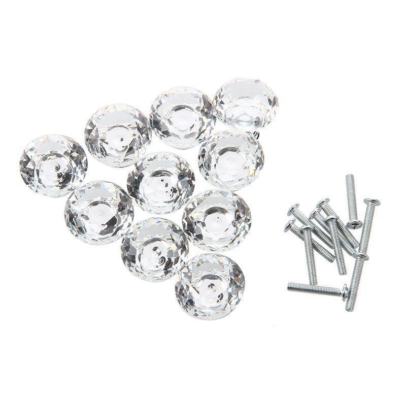 10 pcs 30mm Diamante Porta de Vidro de Cristal Gaveta Do Armário Móveis Handle Knob Parafuso