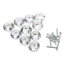 10pcs 30mm Diamond Crystal Glass Door Drawer Cabinet Furniture Handle Knob Screw
